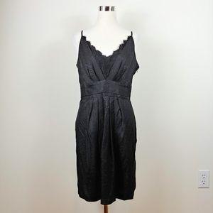 NWT Kenar Black Silk Alligator Textured Slip Dress